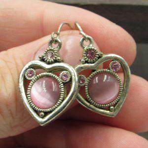 Silver Tone Heart Dangle Earrings Vintage Costume